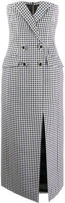 David Koma Gingham-Print Double-Breasted Strapless Dress
