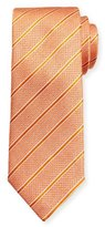 Canali Textured Stripe Silk Tie, Orange