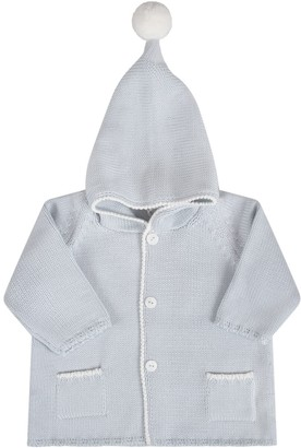 Little Bear Light Blue Babyboy Coat With Light Blue Details