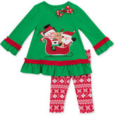 Rare Editions 2-Pc. Santa Top & Leggings Set, Toddler Girls (2T-4T) & Little Girls (2-6X)