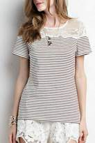 Jodifl Striped Lace Tee