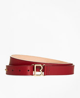 "Brooks Brothers 1"" Skinny Leather ""B"" Buckle Belt"