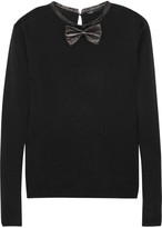 Pamplune leather-trimmed wool sweater
