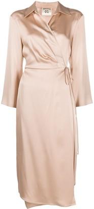 Semi-Couture Wrap Satin Midi Dress