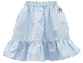 4 Moncler Simone Rocha - Faux Pearl-embellished Ruffled Mini Skirt - Light Blue