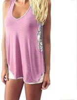 Orangesky Women Summer Lace Vest T Shirt Casual Blouse Tank Tops (L, )