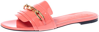 Burberry Pink Patent Leather Coleford Slide Sandals Size 39