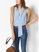 Michael Kors Sleeveless Tie-Neck Blouse, Plus Size