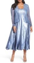 Komarov Plus Size Women's Lace Trim Charmeuse & Chiffon Jacket Dress