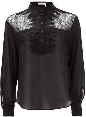 See by Chloe Lace-yoke Georgette Blouse - Black