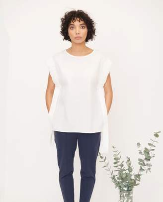Beaumont Organic White Gaia Cotton Poplin Top - White / Small - White