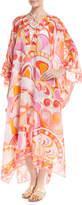 Emilio Pucci Nigeria-Printed Cotton-Silk Kaftan Coverup with Necklace