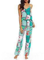 Josie Mixed-Print Challis Racerback Pajamas