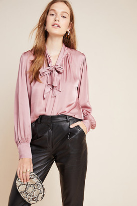 Velvet by Graham & Spencer Alanna Tie-Neck Blouse By in Pink Size S