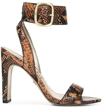 Sam Edelman Yola Python-Embossed Leather Ankle-Strap Sandals