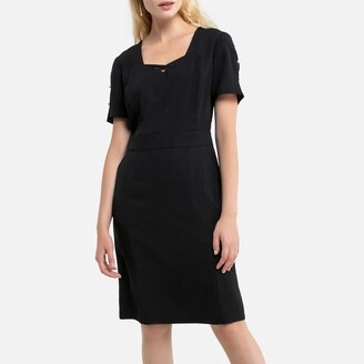 Anne Weyburn Mid-Length Shift Dress with Short Sleeves