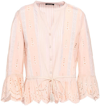Love Sam Lace-trimmed Broderie Anglaise Poplin Shirt