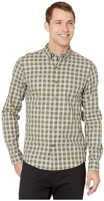 Michael Kors Long Sleeve Check Heather Stripe (Sage) Men's Clothing