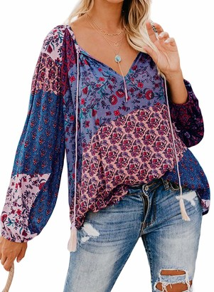 Actloe Women V Neck Floral Printed Blouses Long Sleeve Multicolor Casual Tops and Shirts Floral-8 X-Large