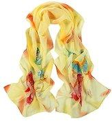Leewa Women Butterfly Pattern Long Scarves Shawl Scarf (160 x 50cm, Yellow)