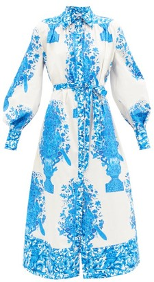 Valentino Delft-print Cotton Shirt Dress - Blue White