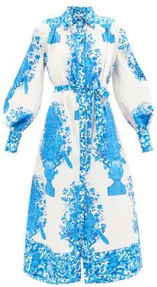 Valentino Delft-print Cotton Shirt Dress - Blue White
