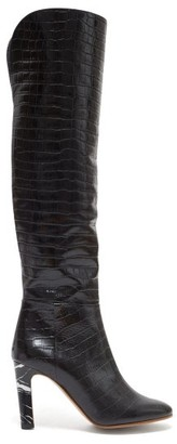 Gabriela Hearst Linda Over-the-knee Crocodile-effect Leather Boots - Black