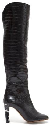 Gabriela Hearst Linda Over The Knee Crocodile Effect Leather Boots - Womens - Black