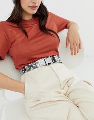 ASOS DESIGN utility buckle snake print waist and hip belt