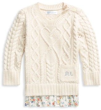Ralph Lauren Baby Girl's Ruffle-Hem Cable-Knit Sweater