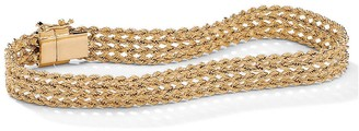 "PalmBeach Jewelry 10k Gold Braided Rope Bracelet 7 1/4"" Tailored"