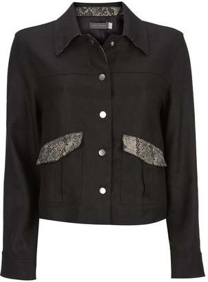 Mint Velvet Black Animal Print Crop Jacket