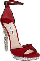 Miu Miu Crystal Heel Platform Sandal