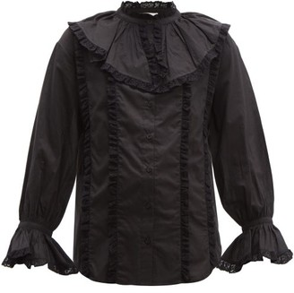 See by Chloe Lace-trim Ruffled Cotton-voile Blouse - Black
