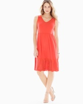 Soma Intimates Shirred Waist Embroidered Short Dress Guava