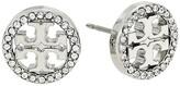 Tory Burch Crystal Logo Circle-Stud Earrings (Tory Silver/Crystal) Earring