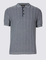 Limited Edition Pure Cotton Textured Slim Fit Polo Shirt