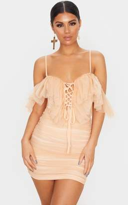 PrettyLittleThing Pink Mesh Ruffle Tie Front Bodycon Dress