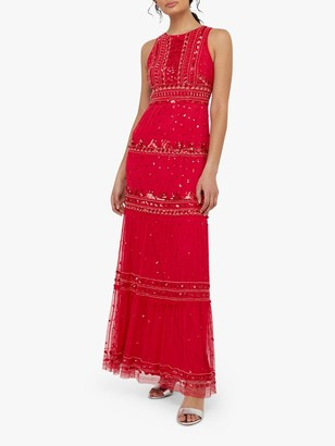 Monsoon Sai Embellished Maxi Dress, Red