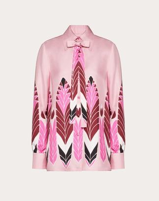 Valentino Printed Twill Shirt Women Pink Silk 100% 38