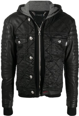 Philipp Plein Hooded Biker Jacket