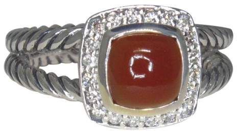 David Yurman Petite Albion Sterling Silver with Carnelian Diamond Ring Size 6.5