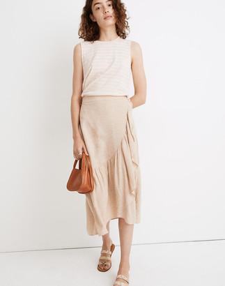 Madewell Linen Ruffle-Wrap Midi Skirt