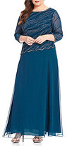 J Kara Plus Round Neck 3/4 Sleeve Beaded Bodice Asymmetrical Gown