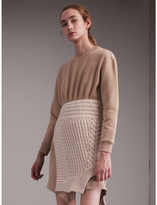 Burberry Cashmere Cable Knit Panel Sweatshirt Dress