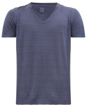 120% Lino V-neck Linen T-shirt - Mens - Navy