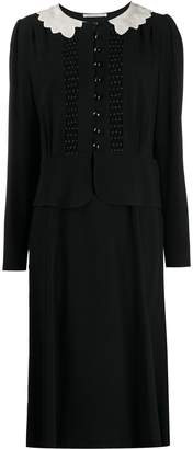 Alessandra Rich embroidered collar crepe dress