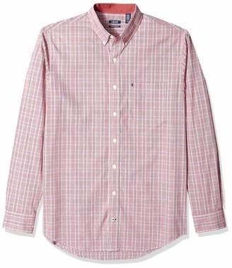Izod Men's Men's Premium Performance Natural Stretch Check Long Sleeve Shirt (Big & Tall and Tall Slim) 2X-Large Tall Slim