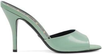 Gucci Leather heeled slides