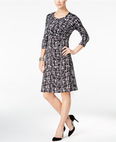 NY Collection Petite Printed Ruched Dress